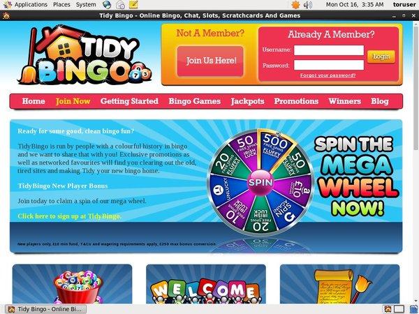 Welcome Offer Tidy Bingo